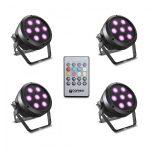 Cameo Light LED Root Par 4 készlet – 4 darab, 7 x 4 W, RGBW LED, Par spotlámpa, távirányítóval, fekete