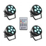 Cameo Light LED Root Par 6 készlet – 4 darab, 6 x 12 W, RGBAW+UV LED, Par spotlámpa, távirányítóval, fekete