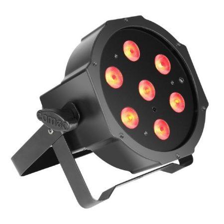 Cameo Light LED Flat PAR Can Tri 3W – infra érzékelős, 7x3 wattos lapos, háromszínű RGB LED, fekete ABS ház