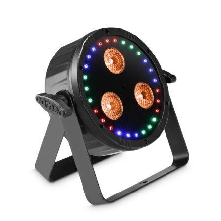Cameo Light LED Flat Star, 2 az 1-ben fény effekt – RGBWA + UV PAR lámpa RGB gyűrűvel, stroboszkóp, fekete házban