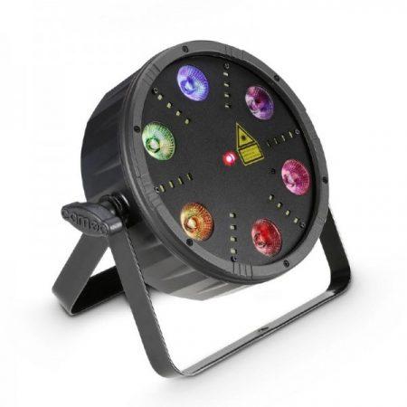 Cameo Light LED Flat Storm, 3 az 1-ben fény effekt – 6x9 W RGB LED PAR Can, stroboszkóp és lézer, fekete házban