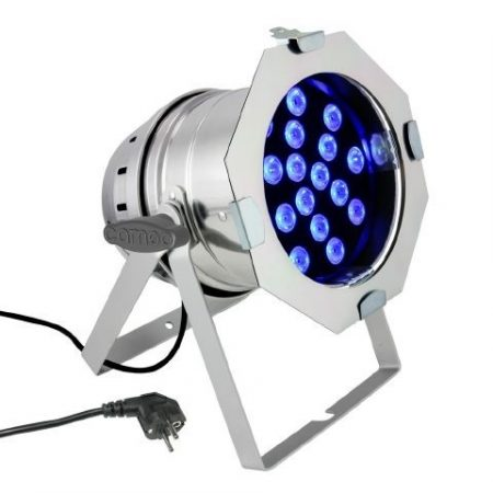 Cameo Light LED PAR 64 – 18x3 W-os háromszínű LED, polírozott alumínium ház