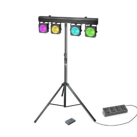 Cameo Light LED reflektor készlet – 4x30 W-os RGB COB LED rendszer, lábkapcolóval, álvánnyal, szállítótáskával