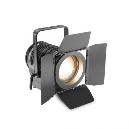 Cameo Light LED színházi spotlámpa Fresner lencsével – 180 W-os melegfehér LED-del, kézi zoommal, fekete házban