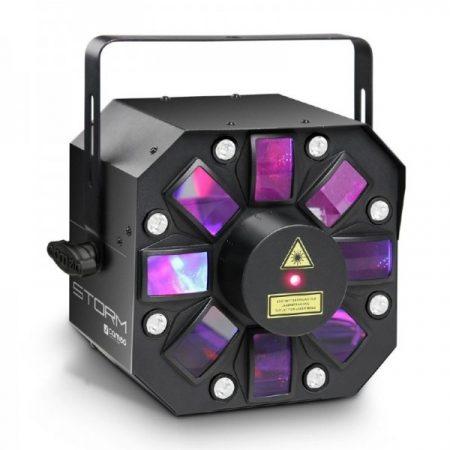 Cameo Light LED Storm, 3 az 1-ben fény effekt – 5x3 W RGBAW Derby effekt, stroboszkóp és rács lézer