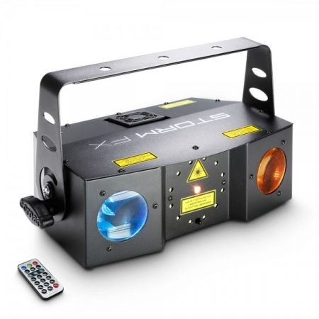 Cameo Light LED Storm, 3 az 1-ben fény effekt – osztott lézer, stroboszkóp és derby effekt, infra távirányítóval