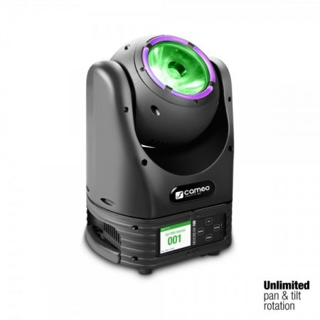 Cameo Light Moving Head Movobeam 100 – mozgófejes lámpa korlátlan forgással és LED gyűrűvel, 60 W-os Osram LED