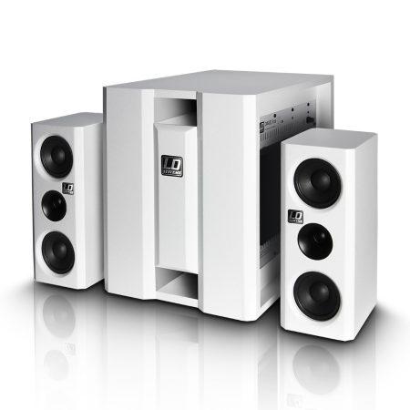 """LD Systems DAVE 8 aktív, 350 W-os multimédia rendszer 8""""-os mélynyomóval és két 4""""-os szatellittel, fehér"""
