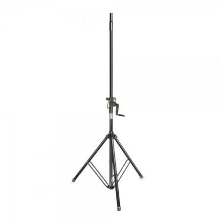 Gravity hangfalállvány – 35 mm átmérőjű, emelő mechanikás (kurblis) magasságállítással, acél, fekete