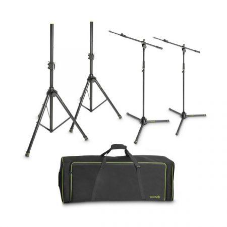 Gravity hangfal – és mikrofonállvány készlet – 2x GSS5211B hangfal- és 2x GMS4322B mikrofonállvány szállítótáskában