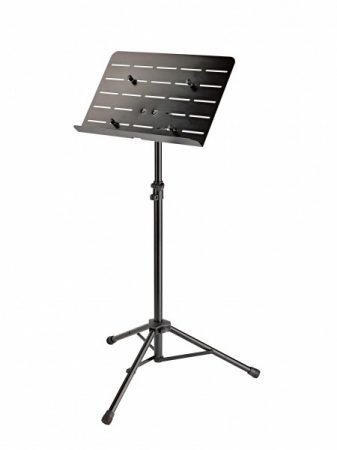 König & Meyer kottaállvány, zenekari – Tablet rögzítő támaszokkal, lyukacsos acél pulttal, gyorszárral, fekete