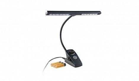 König & Meyer kottalámpa – 12 LED, 2x1400 lux, fényerőszabályzó, 3xAA elem és 110-240 V AC adapter, fekete