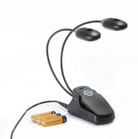 König & Meyer kottalámpa – 2x4 ledes csíptethető lámpa, 230 V AC adapterrel és elemmel, flexibilis nyakkal, fekete