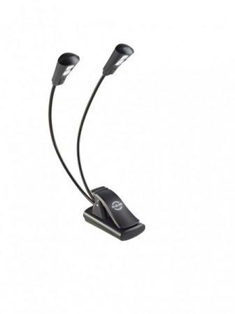 König & Meyer kottalámpa - Double2 LED Flex Light – 2x2 LED-es, csíptethető, 3 db AAA elemmel vagy 110-240 V AC adaprel táplálható, flexibilis nyakkal, fekete
