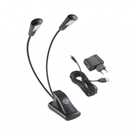 König & Meyer kottalámpa - Double4 LED Flex Light – 2x4 LED-es, csíptethető, 3 db AAA elemmel illetve a tartozék 110-240 V AC adaprel táplálható, flexibilis nyakkal, fekete