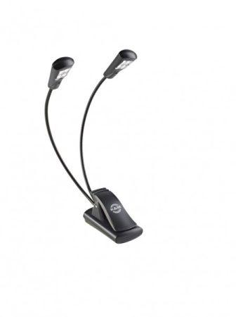 König & Meyer kottalámpa - Double4 LED Flex Light – 2x4 LED-es, csíptethető, 3 db AAA elemmel vagy 110-240 V AC adaprel táplálható, flexibilis nyakkal, fekete