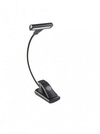 König & Meyer kottalámpa - T-model LED Flex Light – 1x8 LED-es, csíptethető, 3 db AAA elemmel vagy 110-240 V AC adaprel táplálható, flexibilis nyakkal, fekete