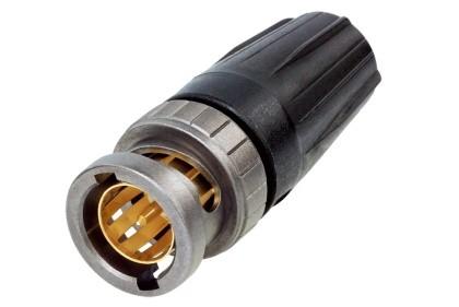 Neutrik NBNC75BLP7 Rear Twist BNC lengő dugó, 75 Ohm, 0.6/3.7 kábelhez, Hex crimp 6,47 mm