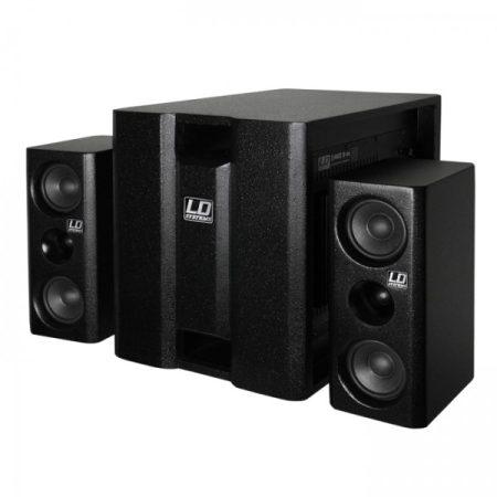 """LD Systems DAVE 8 aktív, 350 W-os multimédia rendszer 8""""-os mélynyomóval és két 4""""-os szatellittel, fekete"""